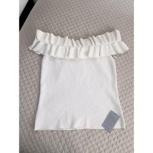 Eliza J Tops - Eliza J white ruffle off shoulder knit top